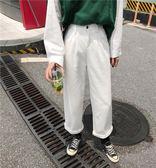 牛仔寬褲  牛仔褲女韓版寬鬆百搭學生bf復古港味chic高腰直筒闊腿九分初戀褲 綠光森林
