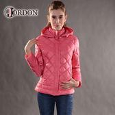 【JORDON 橋登 女 超輕量羽絨夾克《灰玫》】439/輕量化羽絨衣/可收納羽絨衣/保暖羽絨外套