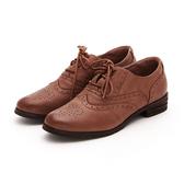 MICHELLE PARK 復古收藏 綿羊皮質感雕花圖案牛津鞋-棕色