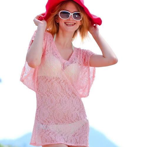 外搭二件式罩衫上衣.沙灘比基尼必備款、戲水趣、泳裝罩衫-橘-波曼妮亞
