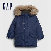 Gap男幼童 保暖刷毛仿毛邊連帽外套 593054-藍色