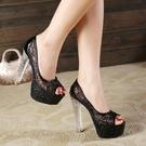 高跟鞋 水晶鞋透明防水台18/20cm恨天高超高跟涼拖鞋超穩粗跟婚紗夜場鞋 降價兩天