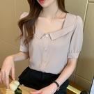 VK精品服飾 韓系寬領氣質假單排釦雪紡襯衫單品短袖上衣