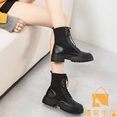馬丁靴女=英倫風厚底真皮單靴顯腳小百搭短靴【慢客生活】