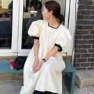 洋裝 韓系春夏簡約撞色方領泡泡袖高腰連身長裙 花漾小姐【預購】