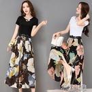套裝單/套裝含棉春季新款女裝時尚雪紡闊腿褲套裝顯瘦夏天兩件套 快速出貨