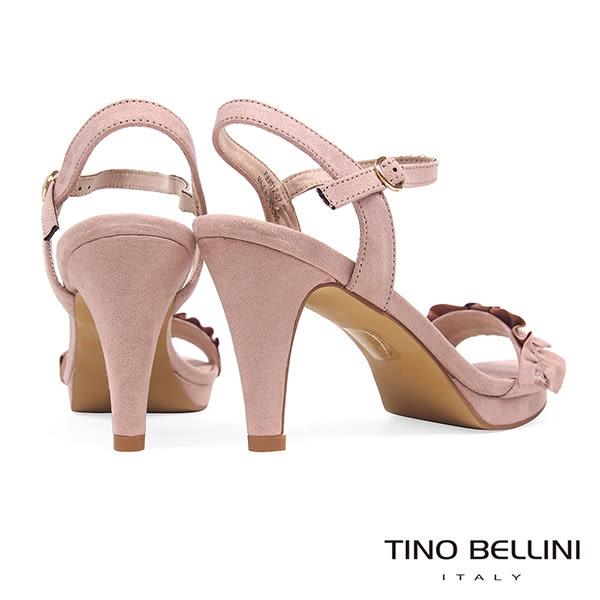Tino Bellini 百摺緞帶質感繫踝高跟涼鞋 _ 粉 F83012