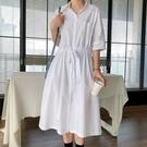 簡約時尚抽繩收腰襯衫洋裝連身裙韓版【88-16-8110818-21】ibella 艾貝拉