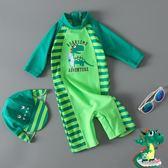 新品兒童泳衣男童連體綠恐龍條紋可愛寶寶嬰兒泳褲帶防曬帽度假(限時八八折)