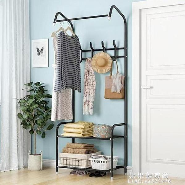 衣架落地簡易衣帽架門廳臥室內掛衣服架子家用晾衣架多功能置物架【果果新品】