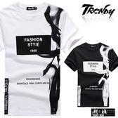 『潮段班』【SD015010】L-XL經典黑白側邊胸前英文印花圓領短袖上衣T恤