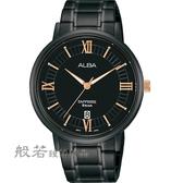 ALBA 雅柏 簡約羅馬字紳士腕錶-黑X玫金
