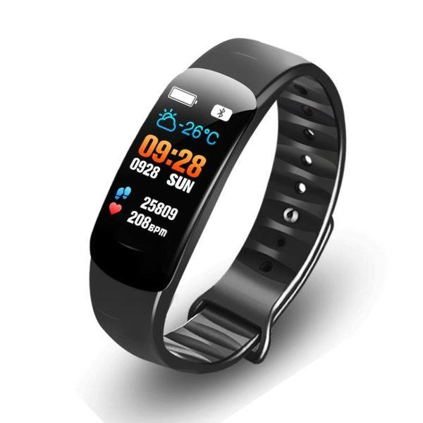 智慧手環C2彩屏智慧手環游泳防潑水男女運動計步手錶多功能心率血壓安卓蘋果