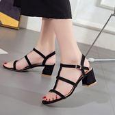粗跟一字扣帶露趾女士涼鞋百搭羅馬中跟時尚女高跟鞋大碼「青木鋪子」