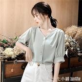 雪紡上衣 短袖雪紡襯衫女2021年夏季新款時尚洋氣韓版V領遮肚百搭上衣小衫
