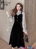 假兩件連身裙 2021年韓版秋冬新款時尚金絲絨假兩件小黑裙氣質中長款連身裙女潮 寶貝計畫