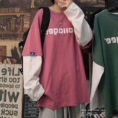 假兩件T恤女早秋長袖上衣ins潮寬鬆韓版2020新款春秋衛衣學生百搭