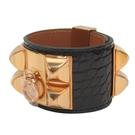 HERMES 愛馬仕 89 Noir 黑色鱷魚皮金釦CDC寬版手環 A刻 Collier De Chien