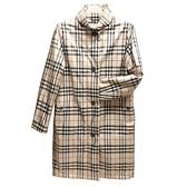 【奢華時尚】BURBERRY 米色經典格紋帆布長版風衣(全新未使用)#24030