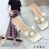 透明高跟 高跟鞋毛毛球透明水晶鞋