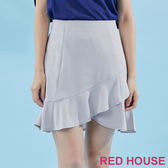 RED HOUSE-蕾赫斯-素面荷葉波浪褲裙(灰色)