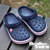 Crocs 深藍 白底 紅邊 洞洞 水鞋 涼鞋 童鞋 (布魯克林) 2017/7月 204537-485
