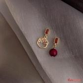 耳環 一枚紅豆不對稱小耳釘925銀銀針新款潮耳環女網紅耳飾品 快速出貨