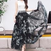 長裙半身長裙高腰大擺裙雪紡印花拖地長裙仙女裙(快速出貨)