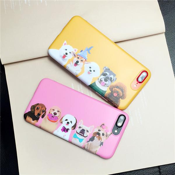 88柑仔店~日系狗狗家族iPhone6/7蘋果手機殼8/6plus搞怪可愛保護套全包軟殼