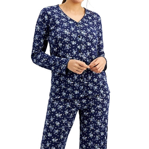 Charter 棉質針織睡衣長褲套裝(藍色迷你花)
