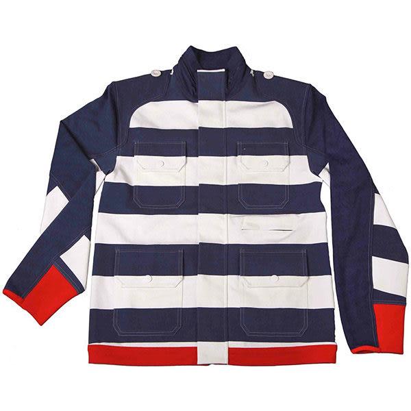 『摩達客』美國LA設計品牌【Suvnir】藍白橫紋立領外套(11112082004)