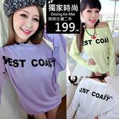 克妹Ke-Mei【AT54359】WEST背後龐克字母圖印寬鬆長袖T恤上衣