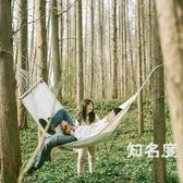 吊床 帆布本白色吊床 帶木桿單人室內戶外休閒 成人野露營秋千攝影 T