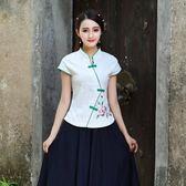 短袖裙裝 新款民族風中式復古棉麻唐裝上衣茶藝服套裝學生畢業服裝