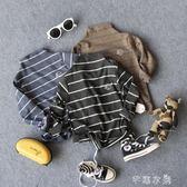 兒童中高領打底衫18秋冬男女童寶寶條紋T恤潮童體恤百搭 千惠衣屋