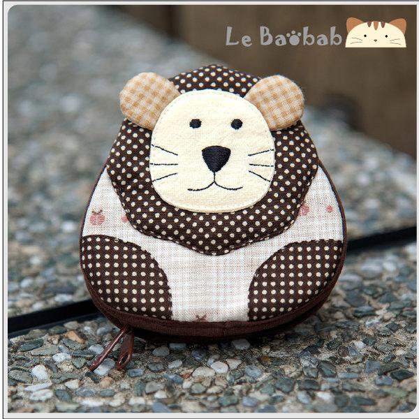 零錢包~雅瑪小舖日系貓咪包 獅子造型雙層零錢包/拼布包包