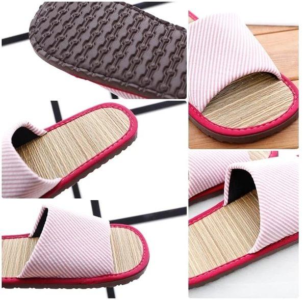 (e鞋院) [光采亮麗-時尚條紋]藺草室內拖鞋 -2雙