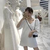 純色V領寬鬆300斤大碼中長款小性感開叉不規則短袖T恤百搭上衣女 快速出貨