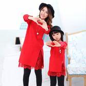 母女裝毛衣親子裝秋冬裝2018新款潮洋氣紅色中長款連身裙