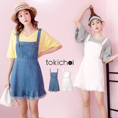 東京著衣-甜美吊帶魚尾裙襬牛仔洋裝-S.M.L(170971)