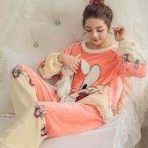 睡衣女珊瑚絨秋冬加厚可愛長袖保暖加絨韓版冬季法蘭絨家居服套裝  潮流小鋪