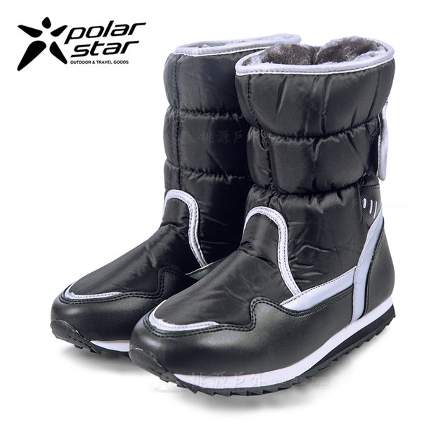 PolarStar 女 保暖雪鞋│雪靴 『黑』P13621 (內厚鋪毛/ 防滑鞋底) 雪地靴.非UGG靴.雪地必備
