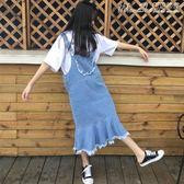 背帶裙2019夏季女裝韓版中長款寬鬆口袋荷葉邊牛仔背帶裙學生毛邊洋裝 曼莎時尚