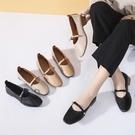 單鞋女平跟瑪麗珍鞋A春季粗跟百搭淺口網紅韓版平底交換禮物