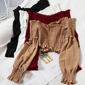 一字肩 甜美性感露肩木耳一字領長袖上衣秋裝修身褶皺露腰小衫韓版純色襯衫女