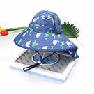 海豚滿印 透氣網眼 大帽沿 防曬遮陽帽 附防風繩 盆帽 漁夫帽 遮陽帽 童帽 大童 童裝 橘魔法 現貨