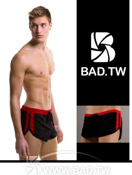 壞男BF《潮男休閒簡潔款超短褲》(黑底紅邊)【M / L / XL】(居家褲、健身褲、休閒褲、海灘褲)