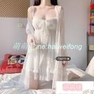 睡衣 白色睡衣女夏季吊帶睡裙兩件套公主風性感薄款家居服套裝 【萌萌噠】