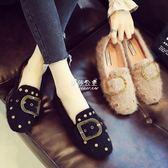 毛毛鞋  單鞋女平底鞋子百搭溫柔仙女毛毛鞋女豆豆鞋  『伊莎公主』