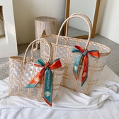 草編包 包包2020新款潮大容量托特包透明菜籃子側背手提包時尚女草編織包 伊蘿